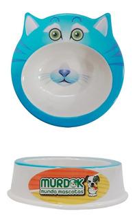 Comedero De Plástico Para Gato C/ojos Y Orejas Cuotas