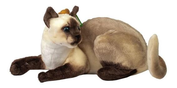 Gato Pelúcia Siamês Com Olho De Acrílico 40cm F1620 - Fizzy