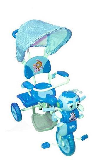Triciclo De Lujo Con Toldo Celeste Rt9024 (4299)