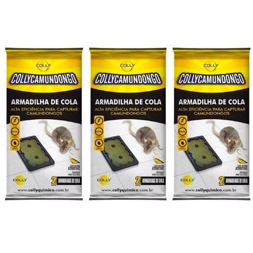 Ratoeira Pequena Cola Pega Rato Camundongo Colly Kit 3 Unid