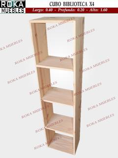 Cubo De Madera Biblioteca Pino 40x20x1.60 X 4 Espacios Roka