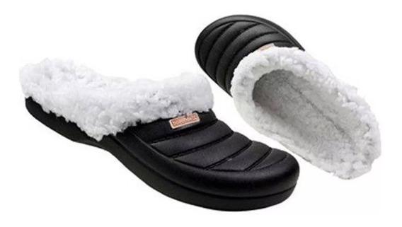 Babuche Crocs Pantufa Boaonda Forrado Lã Feminina Calçado