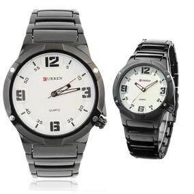 2 Relógios Masculino Curren Black/white (original)