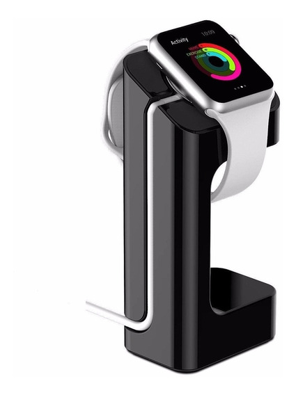Base / Stand Para Apple Watch En Resina Color Negro Y Madera
