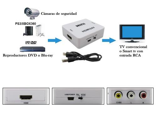 Convertidor De Hdmi A Rca Av Video Hd 1080p Ntsc Pal