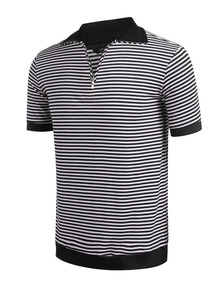 Hombres Turn Down Collar De Manga Corta Rayas Zip-up Polo T-