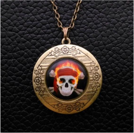 Colar Cabochão Caveira Pirata Bronze