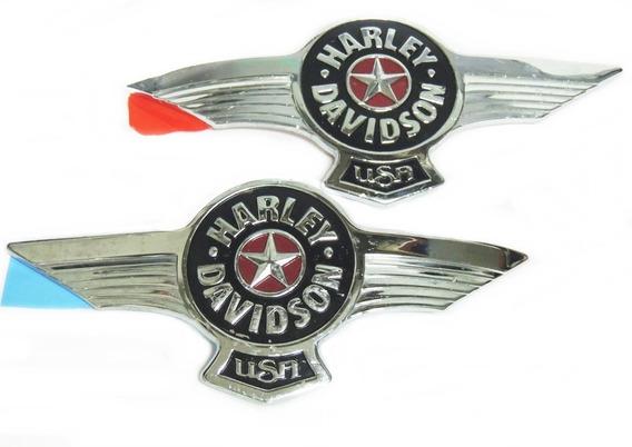 Par Emblema Adesivo Cromado Tanque Harley Davidson