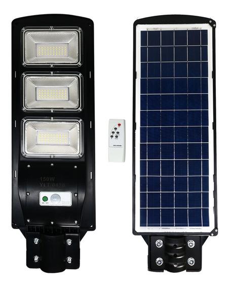 Solar Refletor Luminária Pública Poste Rua Led Inc150w* Capa Cinza Luz Branco