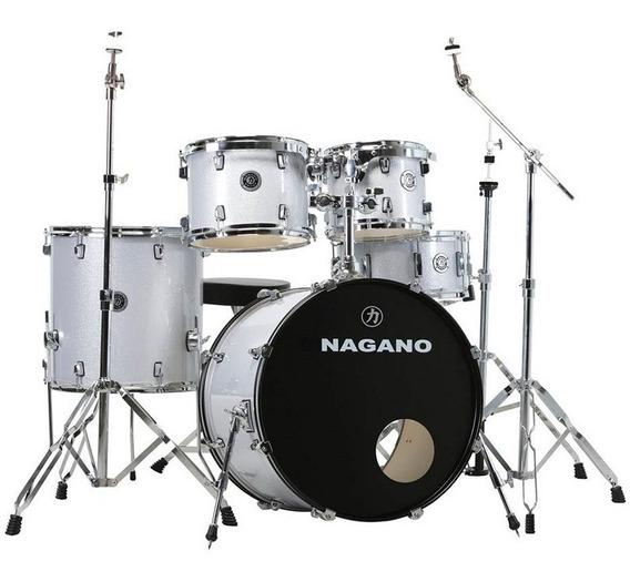 Bateria Acústica Nagano Garage Fusion Grey Sparkle Bumbo 20