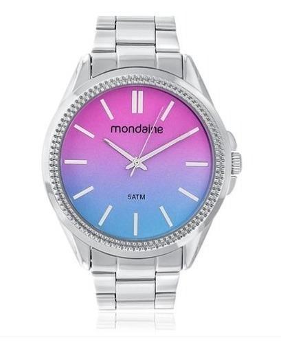 Relógio Pulso Feminino Mondaine Prata Azul E Rosa