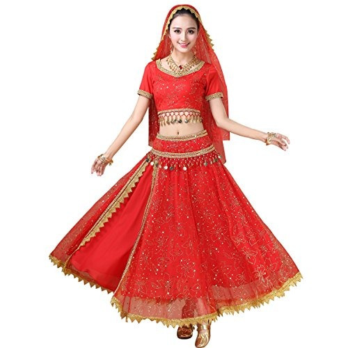 Traje De Bollywood De La Gasa De La Danza Del Vientre De Las