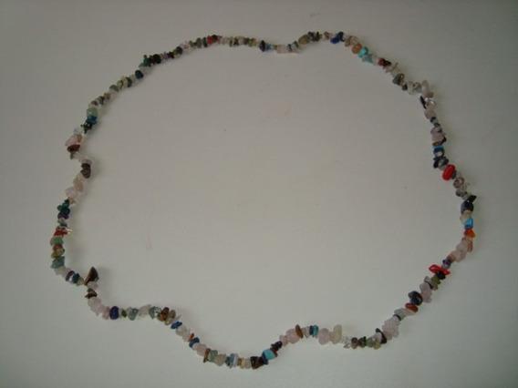 Colar Fio Cascalho Pedra Mix Diversas Natural Colorida G 2