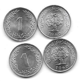 Serie 2 Monedas Tunez 1 Y 2 Millim Año 1960 Sin Circular
