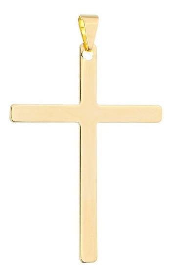 Pingente Masculino Cruz Crucifixo Liso Chapado Folheada Ouro