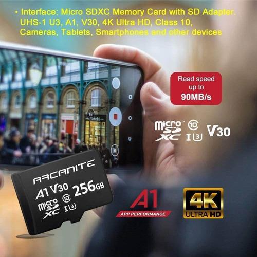 a1 4k Arcanite 256 gb microsdxc-tarjeta de memoria con adaptador-UHS-I u3 v30 c10