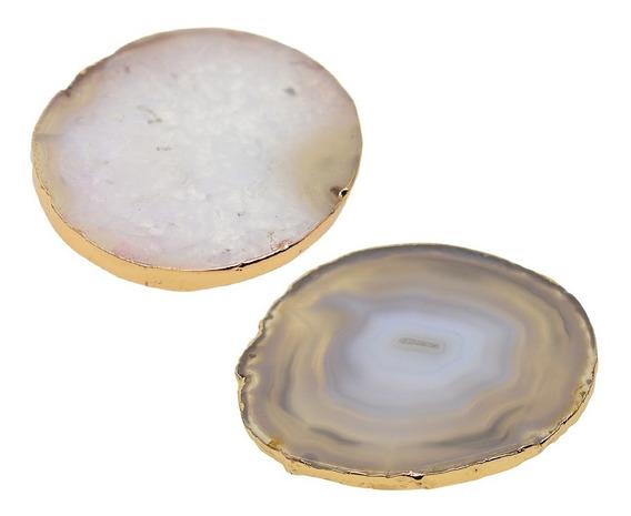 2x 60-80mm Ágata Fatias Cristais Geode Pedras Jóias Fazendo