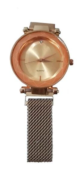 Relógio De Mulher Fashion De Luxo Pulseira Magnética Dourado