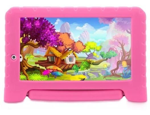 Tablet Kids Capa Emborrachada Com Suporte Rosa Android 7.0