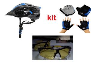 Kit Capacete + Luva Gel L Ou Xl + Oculos Noite((lacrados))