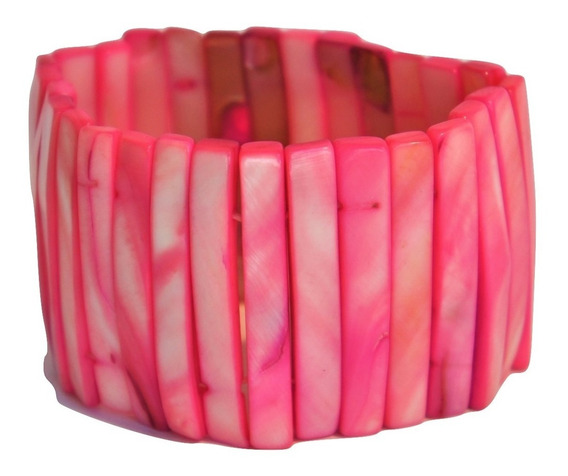 Brazalete Pulsera Ancha De Madreperla Color Rosa