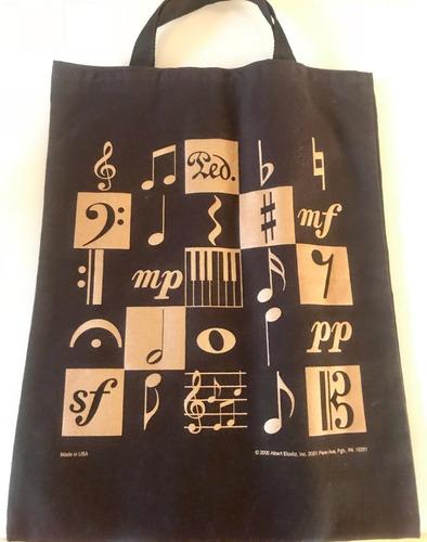 Imagen 1 de 1 de Bolsa Negra Con Dorado (notas Musicales)