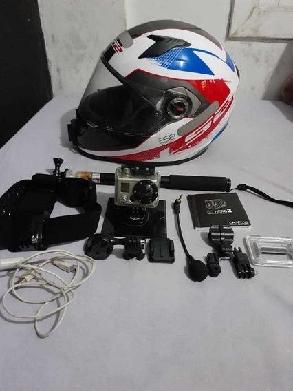 Kit Câmera Gopro Hero 2 E Capacete Ls2 Masculino