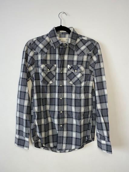 American Eagle Camisa Original Cuadros Blanco Gris Hombre Xs