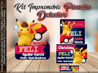 Kit Imprimible Pikachu Pokemon Etiquetas Escolar Completo