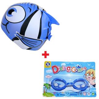 Touca Infantil Natação + Óculos Mergulho Promoção Liquidação