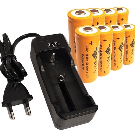 Kit Carregador + 8 Bateria 26650 12800mah Lanterna Led X900