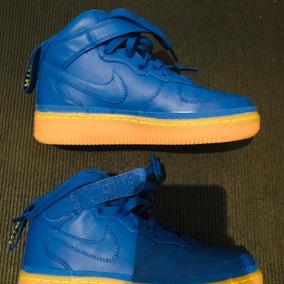 Tênis Nike Air Force 1 Mid Azul/amarelo- Original
