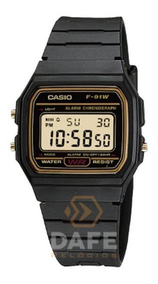 Relógio Casio F-91w Série Ouro Unissex Original C/caixa E Nf