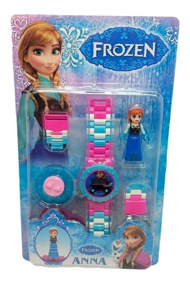 Relógio Digital Infantil Frozen + Boneco Lego Anna