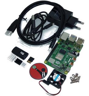 Kit Raspberry Pi 4b 4gb Adaptador Carcasa Disparadores Sd