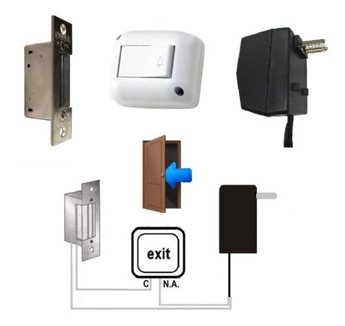 Cerradura Pestillo Electrico Abre Puerta Pulsador + Trafo Gr