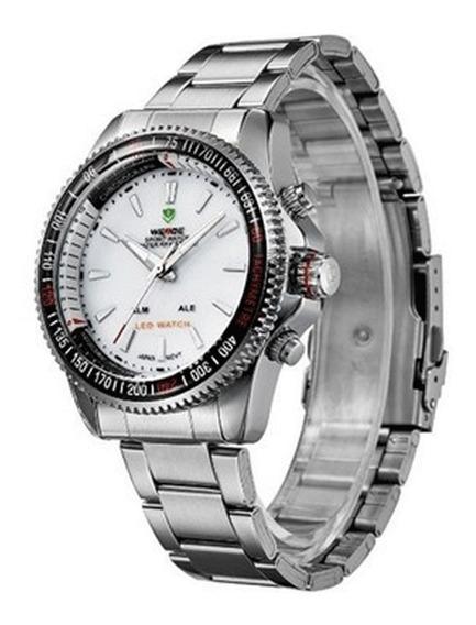 Relógio Masculino Weide Prata E Branco