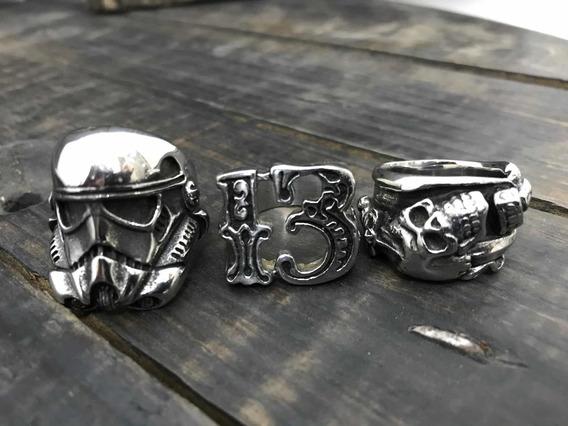 Lote Anéis Aço Cirúrgico Stormtrooper Caveira Tattoo E 13
