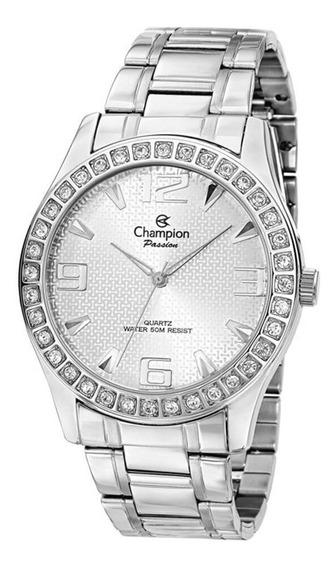 Relógio Feminino Champion Prata Strass Passion Ch24704q Top