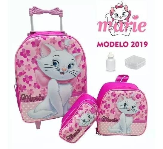 Kit Mochila Carrinho Infantil Rodinhas Minnie Marie Outros