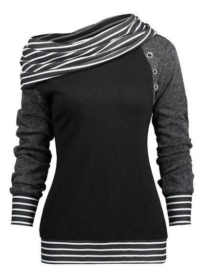 Camiseta De Manga Raglán Con Cuello Asimétrico A Rayas