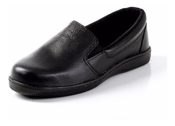 Sapato Feminino Preto De Couro Para O Trabalho