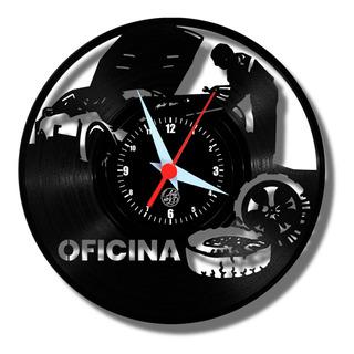 Oficina Mecânica Moto Carros Relógio De Vinil Disco Arte Lp