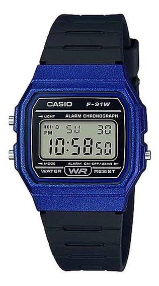 Relógio Casio F91wm-2adf Azul Original Unissex