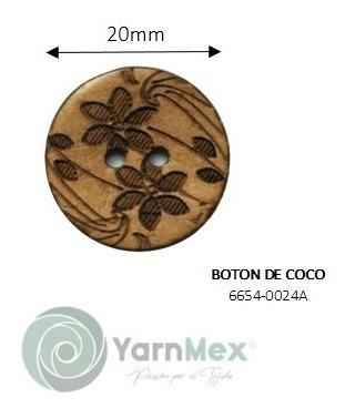 Botón De Coco | 6654-0024 - 100pzas