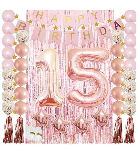 Kit Set Decoración 15 Años Cumpleaños Oro Rosa Rosado