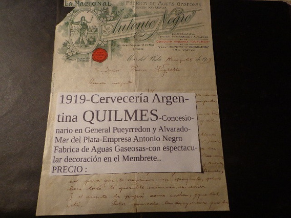1919- Cervecería Argentina Quilmes- Membrete Espectacular