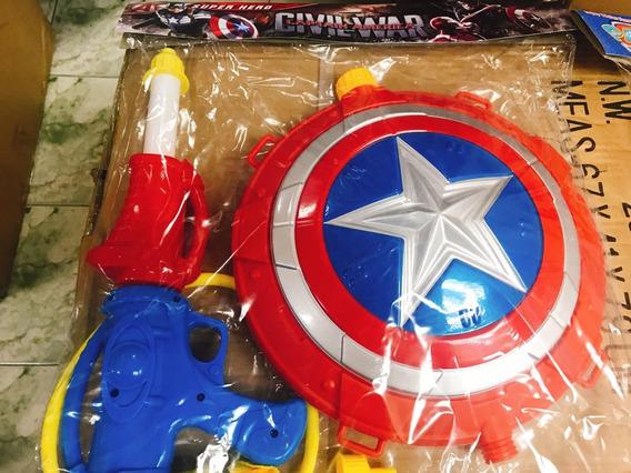 Pistola De Agua Capitan America Spiderman Juguete Para Niños