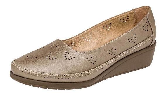 Zapato Casual Tacon Dama Capricho 6194 Dorado 2226 T4