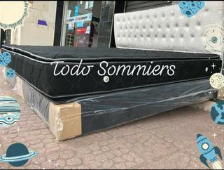 Sommkers 2x2 King Size Resortes Reforzados Doble Pillow